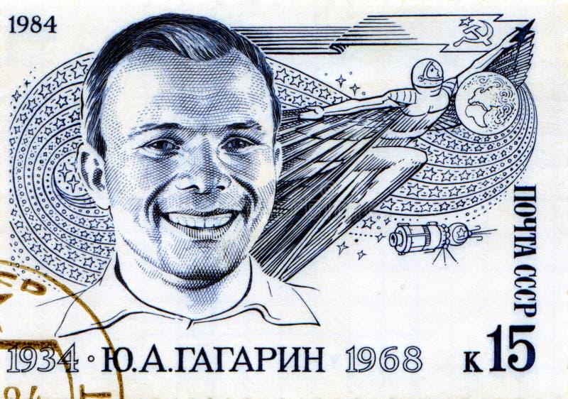 Estampille avec Yuri Gagarin photo stock