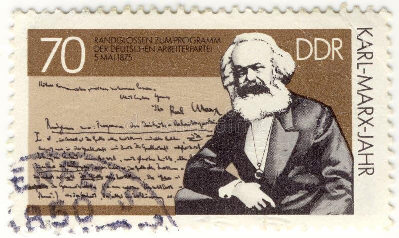 Estampille de cru avec Karl Marx image libre de droits