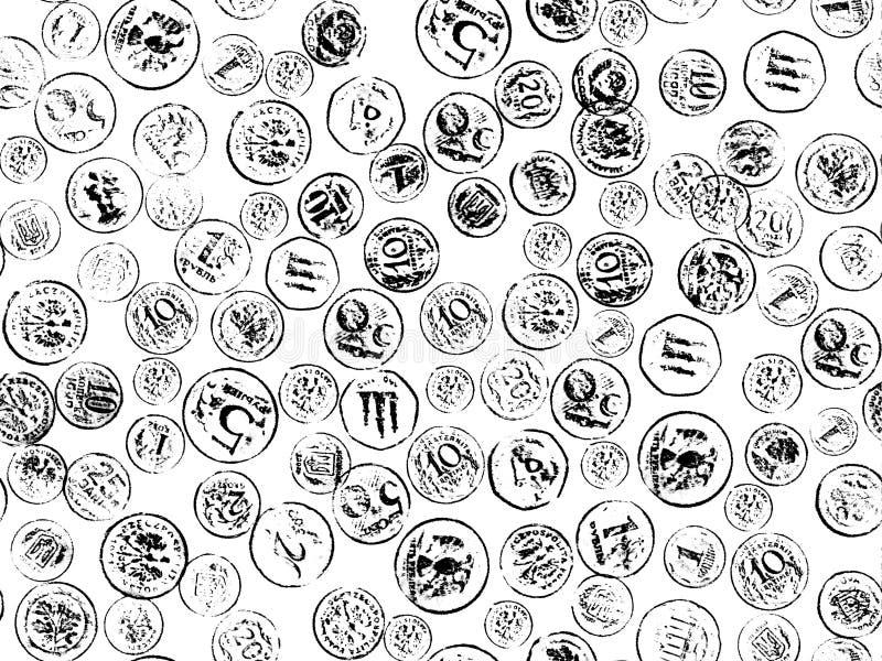 Estampille de pièces de monnaie sur le fond de wight photos stock