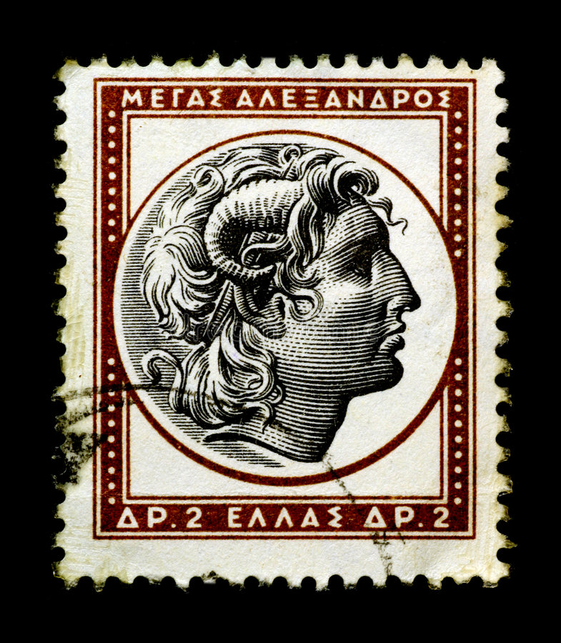 estampille grecque grande d'Alexandre photo stock