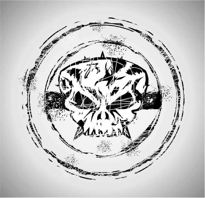 Estampille grunge de crâne de type illustration stock