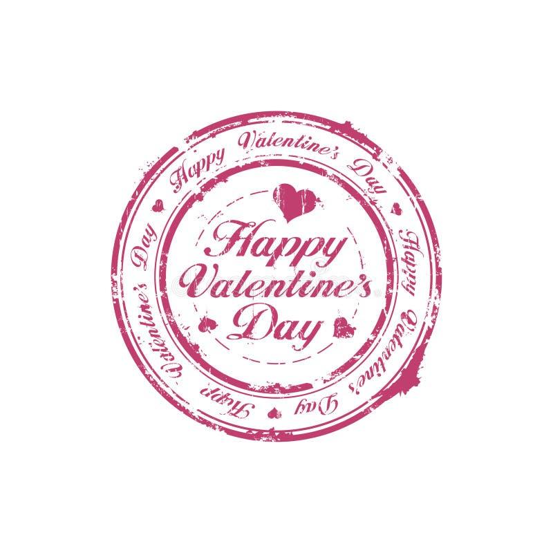 Estampille heureuse de jour de Valentine illustration stock