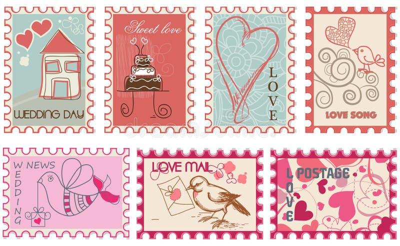 Estampilles d'amour illustration libre de droits