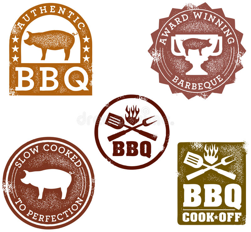 Estampilles de barbecue illustration libre de droits