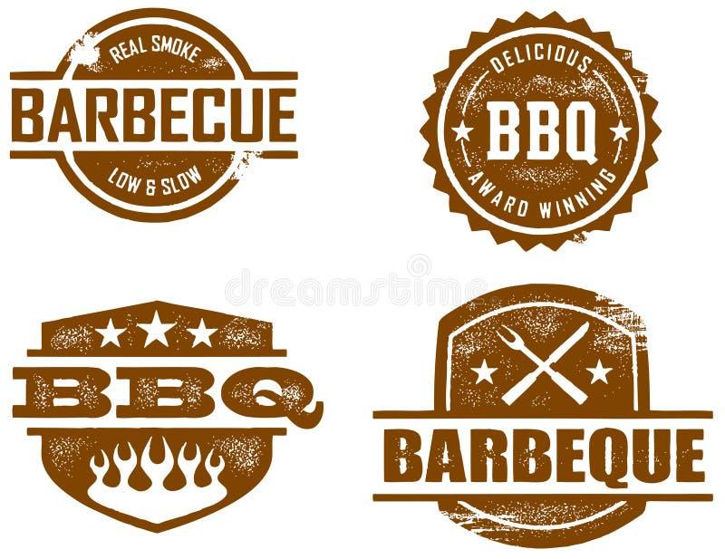 Estampilles de BBQ illustration de vecteur