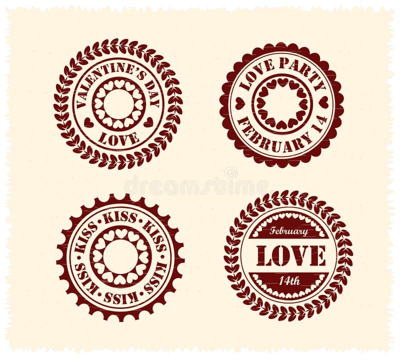 Estampilles de cru du jour de Valentine illustration libre de droits