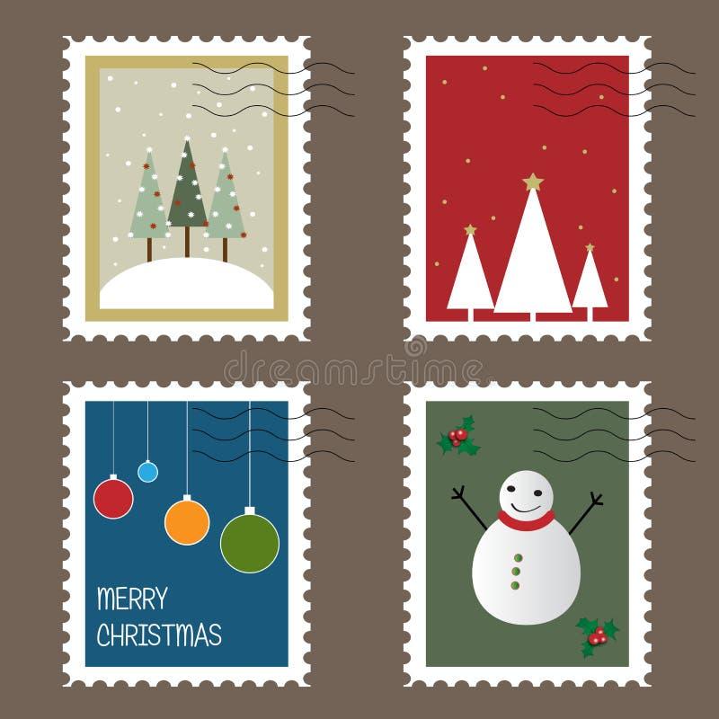 Estampilles de Noël illustration stock