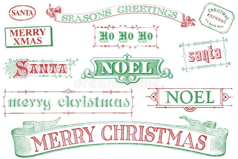 Estampilles de Noël de cru illustration stock