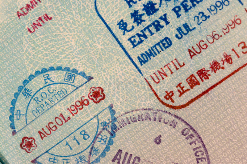 Estampilles de passeport - Chine photographie stock libre de droits