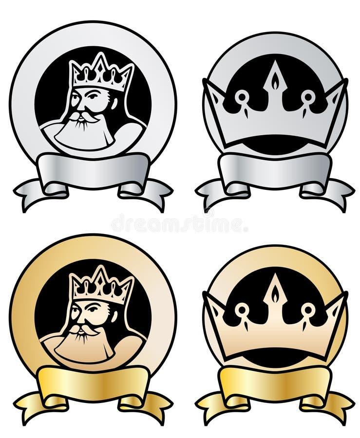 Estampilles de roi et de tête illustration de vecteur