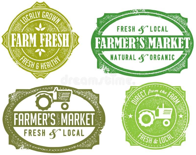 Estampilles du marché de l'agriculteur de cru illustration de vecteur