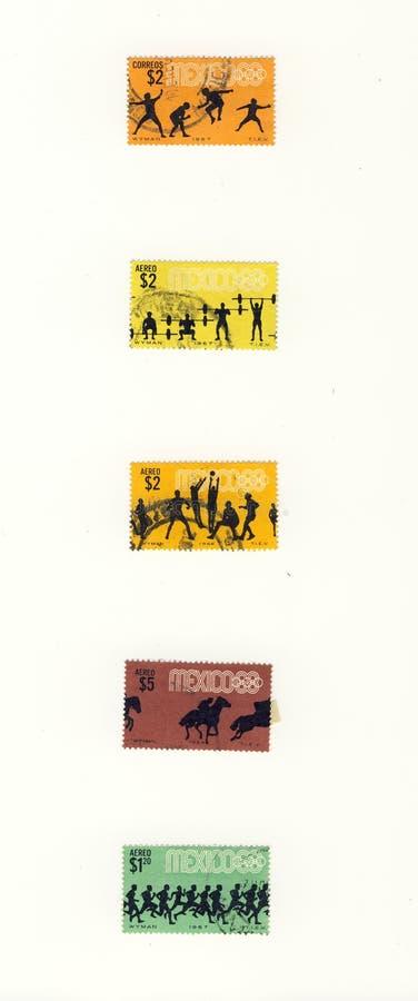 Estampilles du Mexique de sport de Silhuettes images stock