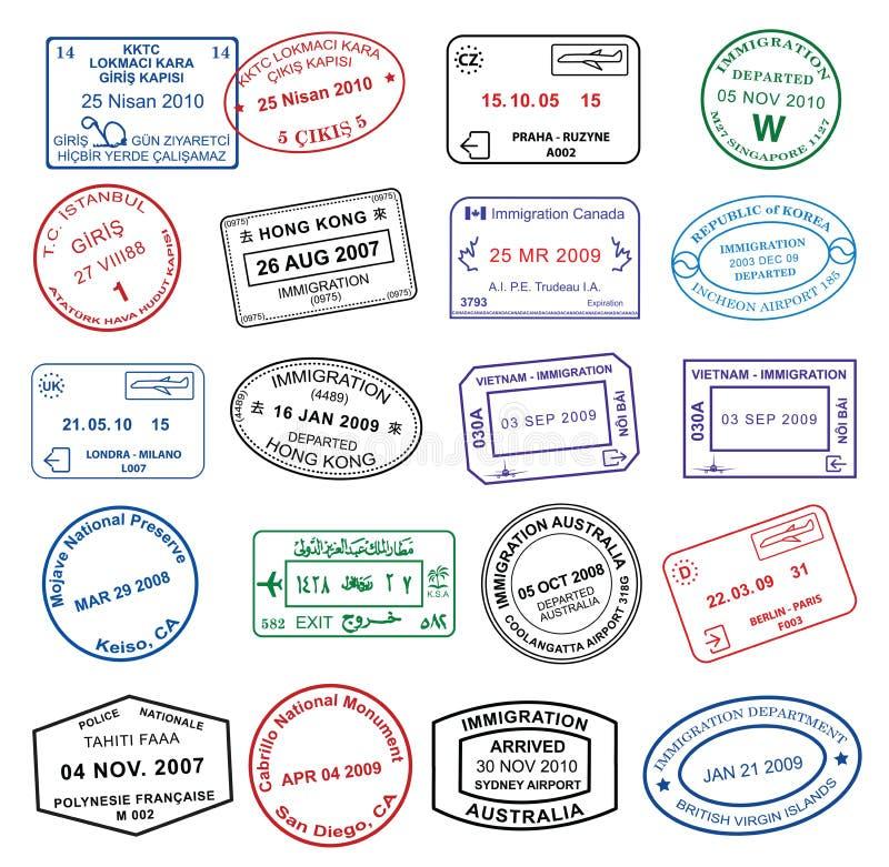 Estampilles propres de passeport illustration de vecteur
