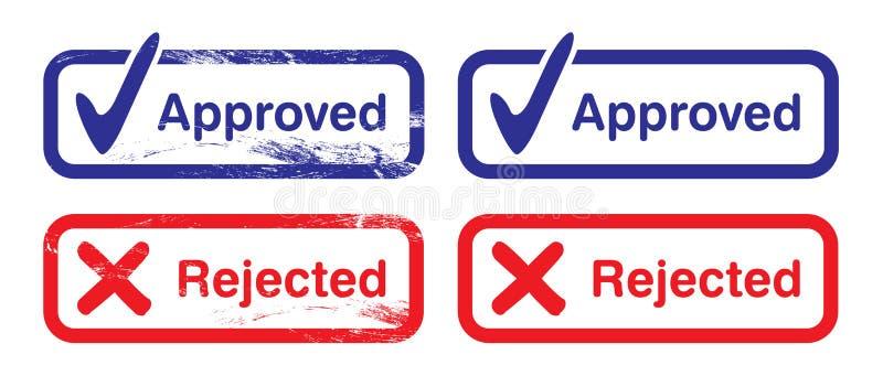 Estampilles reconnues et rejetées illustration libre de droits