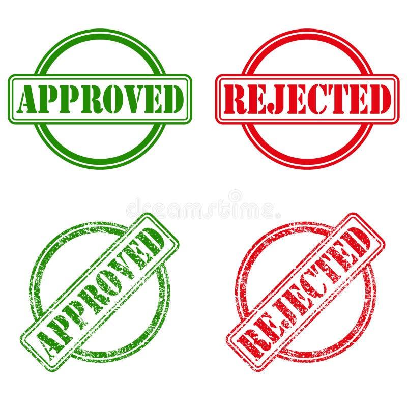Estampilles reconnues et rejetées d'encre illustration de vecteur
