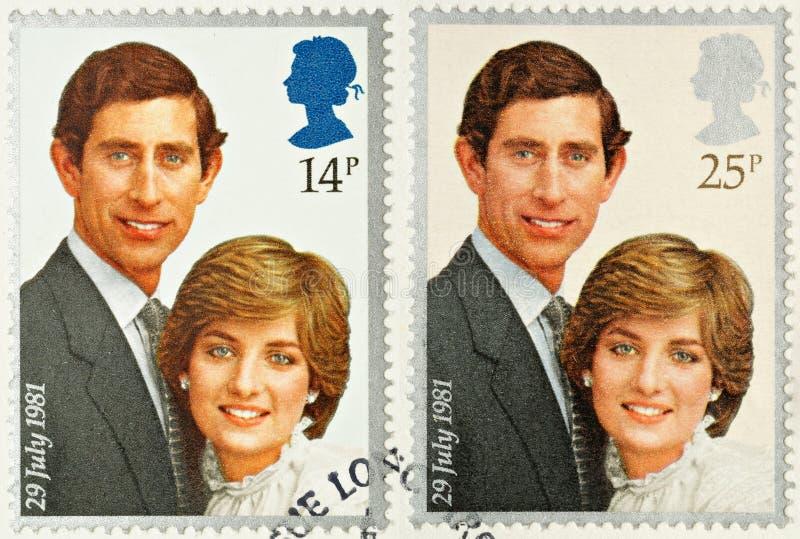 Estampilles royales de mariage de Charles et de Diana photographie stock libre de droits