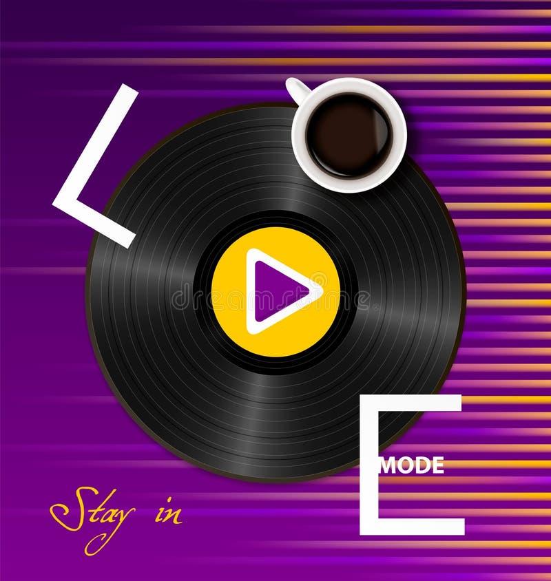 Estancia de la inscripción en modo del amor con una taza de café, de disco de vinilo retro y de botón de reproducción en púrpura  stock de ilustración