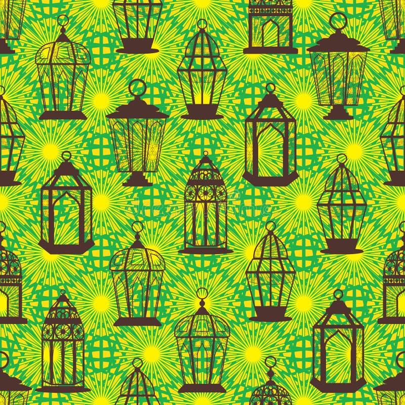 Estancia de la linterna del Ramadán mucha modelo inconsútil brillante ilustración del vector