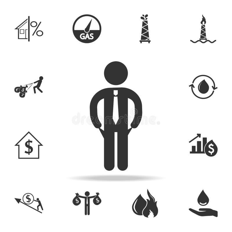 Estancia del hombre de negocios con el icono vacío de los bolsillos Sistema detallado de iconos del elemento de las finanzas, de  stock de ilustración