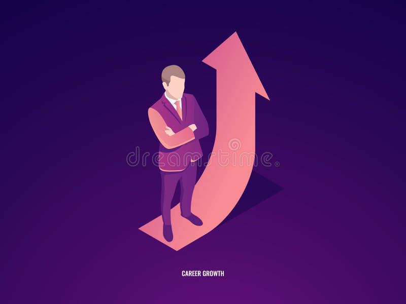 Estancia del hombre de negocios en flecha para arriba, crecimiento de la carrera, vector isométrico del éxito empresarial ilustración del vector