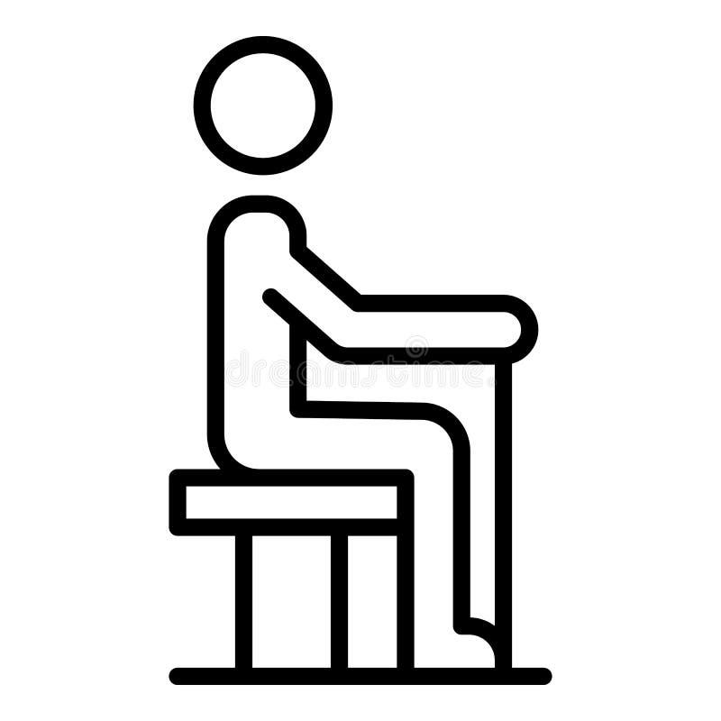 Estancia del hombre mayor en el icono de la silla, estilo del esquema stock de ilustración