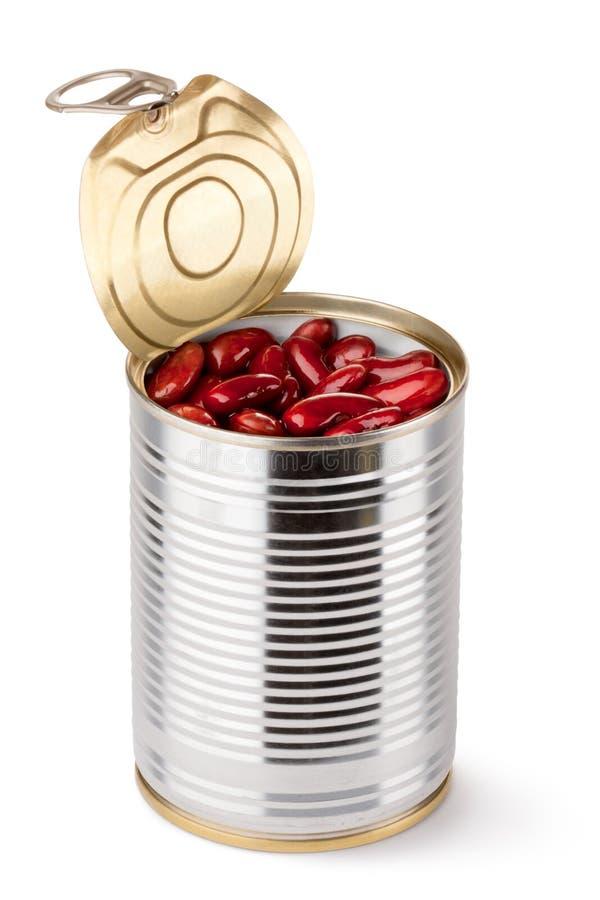 Estanho aberto com feijões vermelhos fotografia de stock