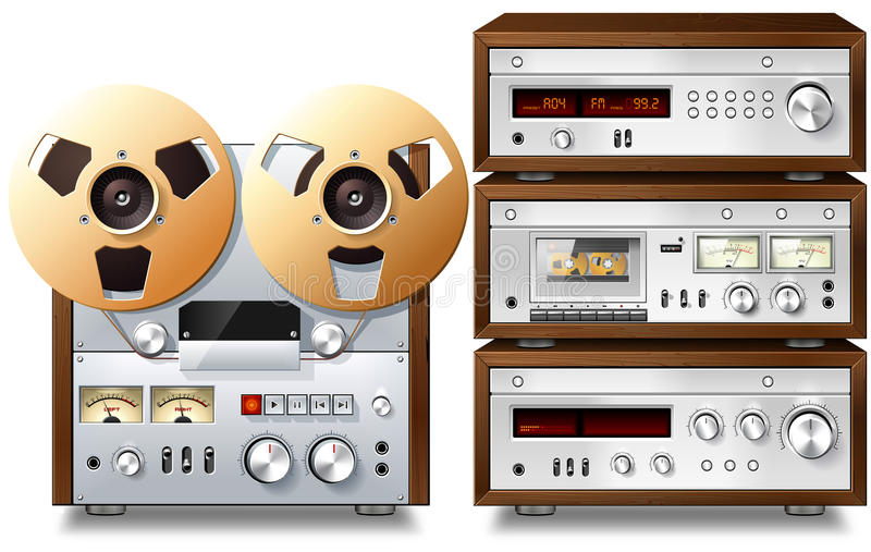 Estante audio estéreo del vintage de los componentes de la música analogica ilustración del vector