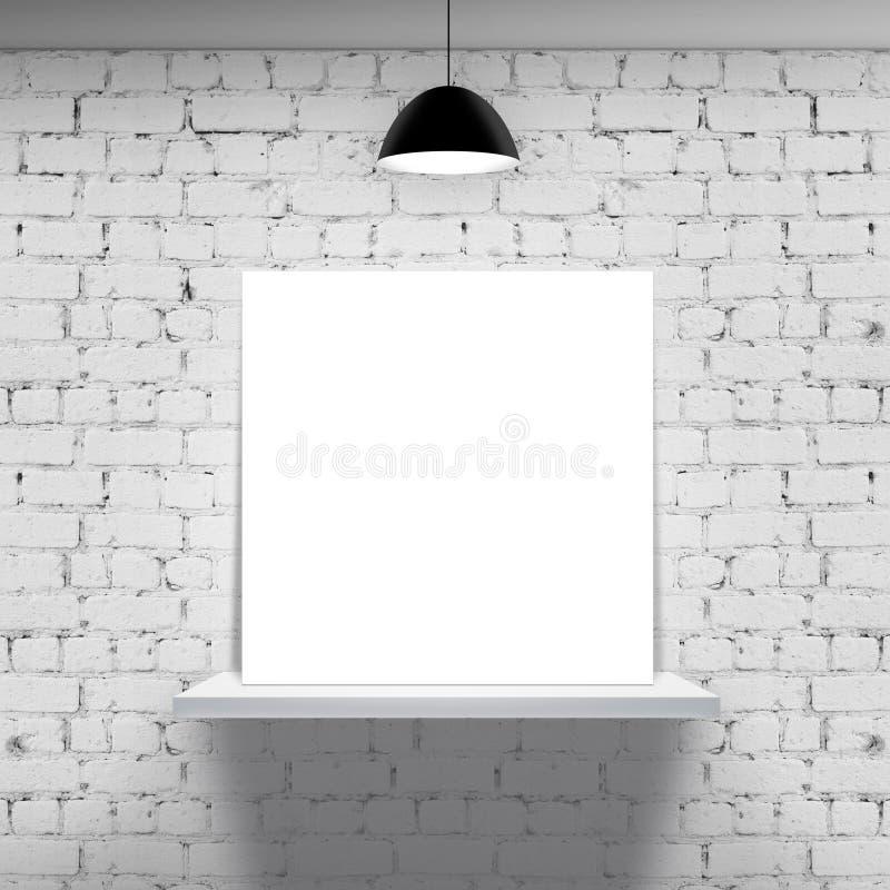 Estante blanco con el cartel foto de archivo libre de regalías