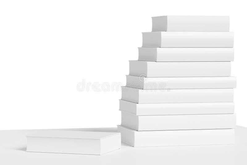 Estante blanco con la pila de primer de los libros blancos ilustración del vector