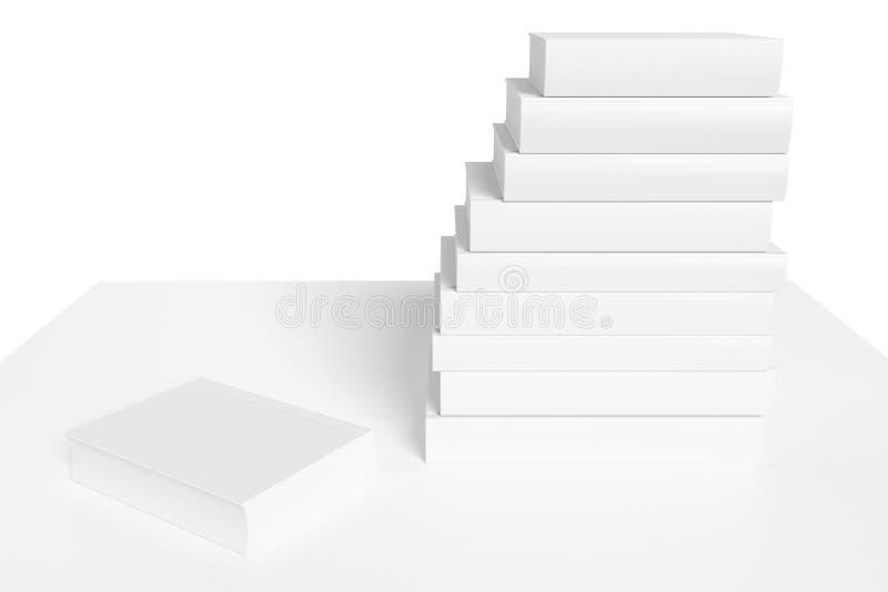 Estante blanco con los libros blancos ilustración del vector
