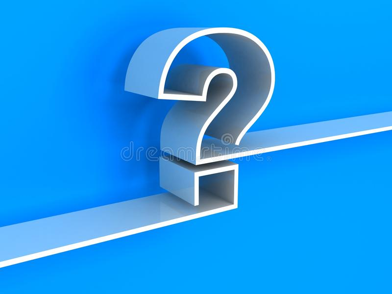 Estante blanco del signo de interrogación en fondo azul libre illustration