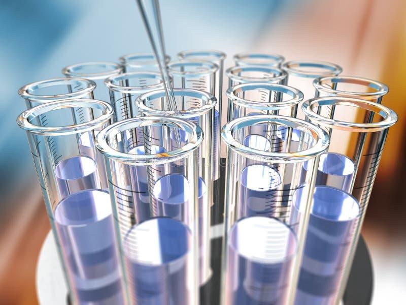 Estante circular de los tubos de prueba stock de ilustración