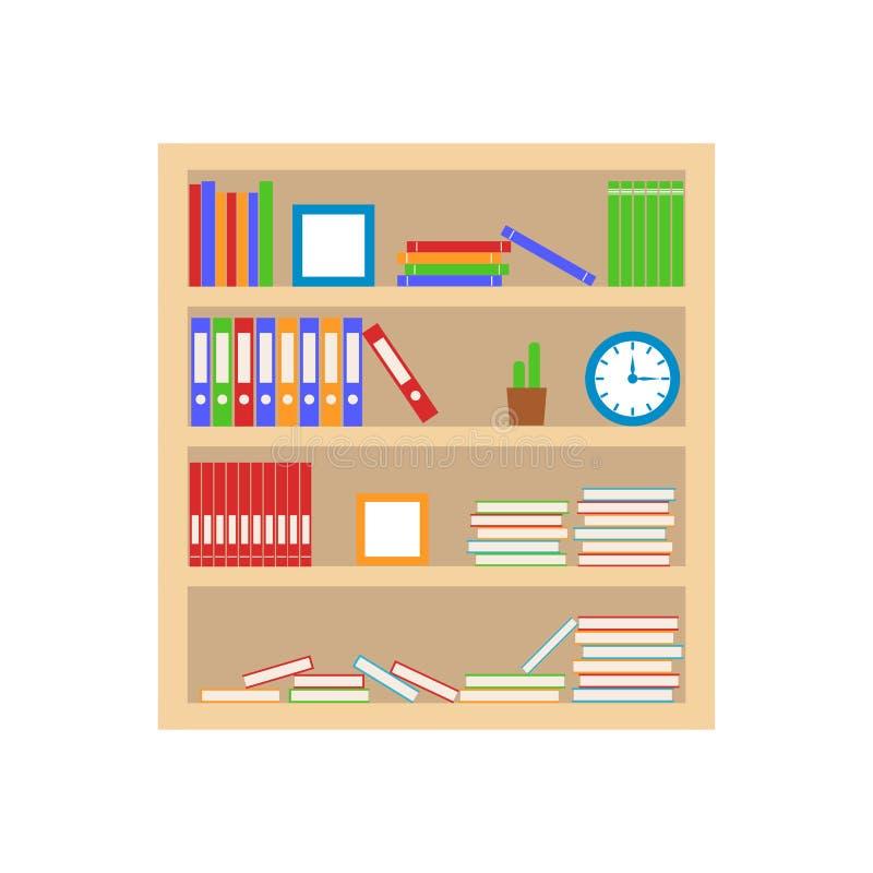Estante com livros e dobrador Biblioteca home Prateleira de madeira isolada no fundo branco ilustração do vetor