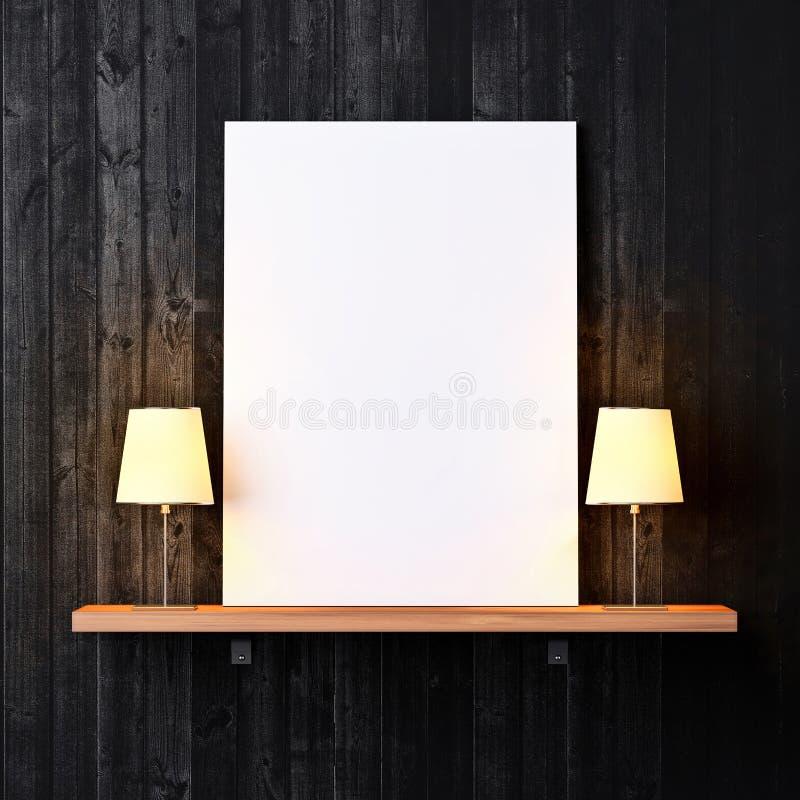 Estante con el cartel y las lámparas blancos imagen de archivo libre de regalías