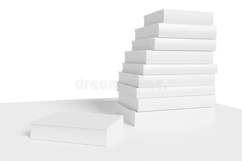 Estante con la pila de primer de los libros blancos libre illustration