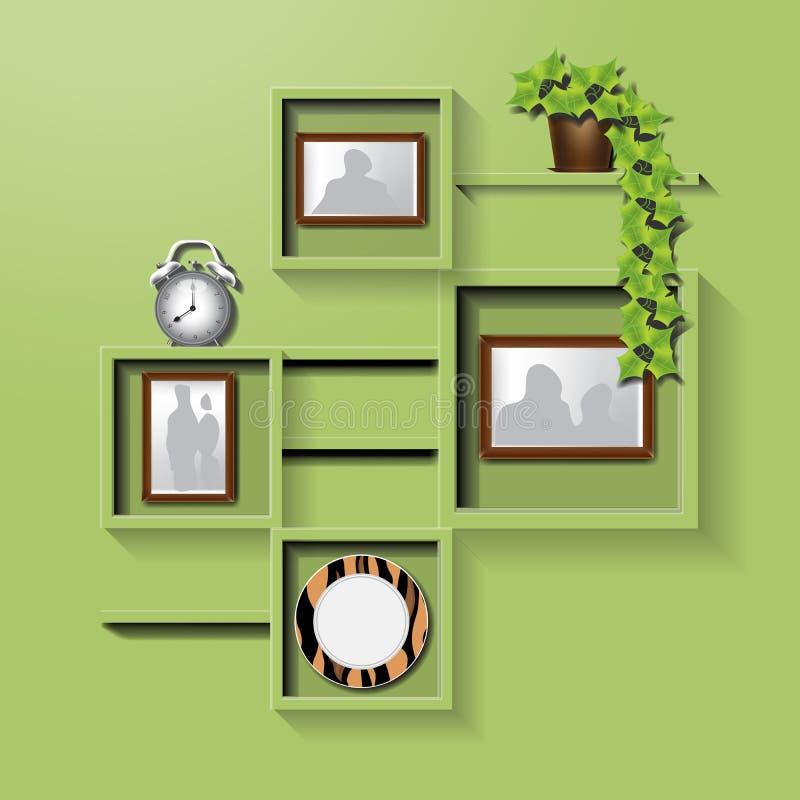 Estante cuadrado verde en una pared libre illustration