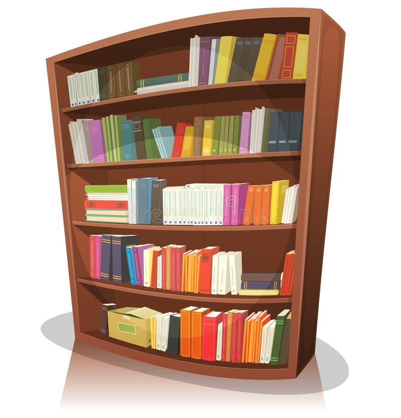 Estante da biblioteca dos desenhos animados ilustração stock