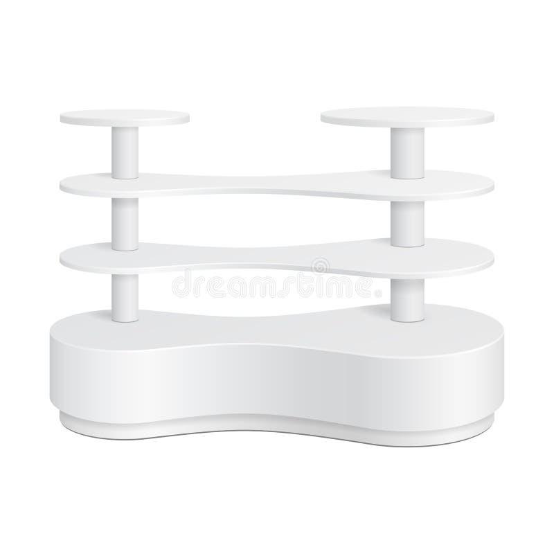 Estante de exhibición plástico redondeado blanco de piso de la posición POI Metaball para las exhibiciones vacías del espacio en  libre illustration