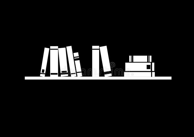 Estante de librería con los libros stock de ilustración