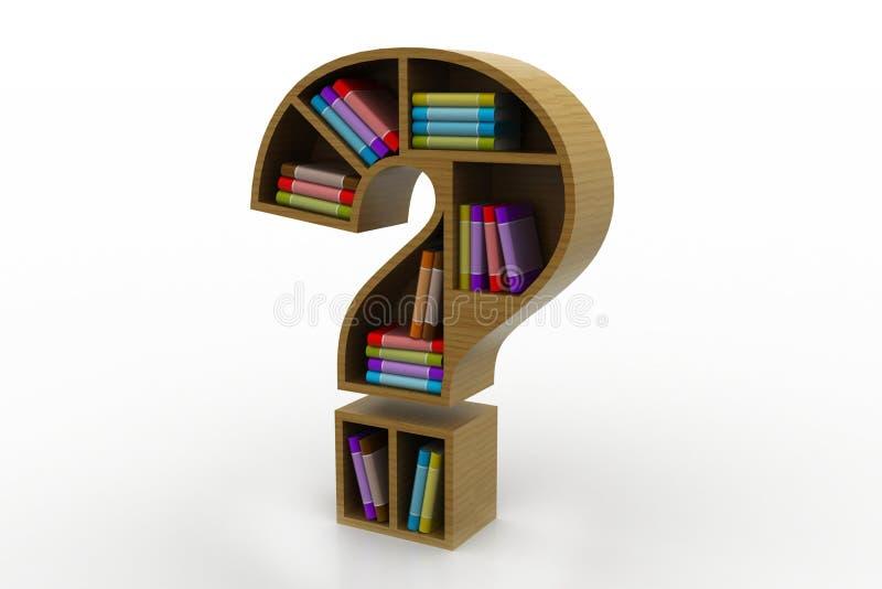 Estante de librería en el modelo del signo de interrogación libre illustration