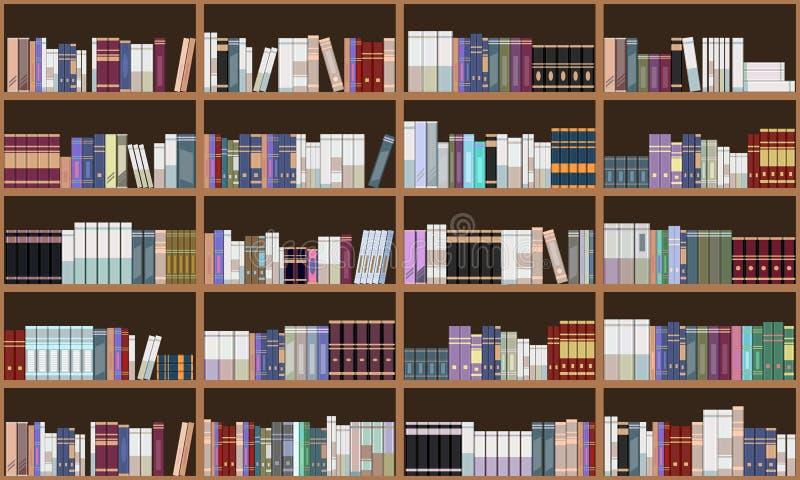 Estante de librer?a magn?fico de la biblioteca Incons?til horizontal y vertical Ejemplo de color plano libre illustration