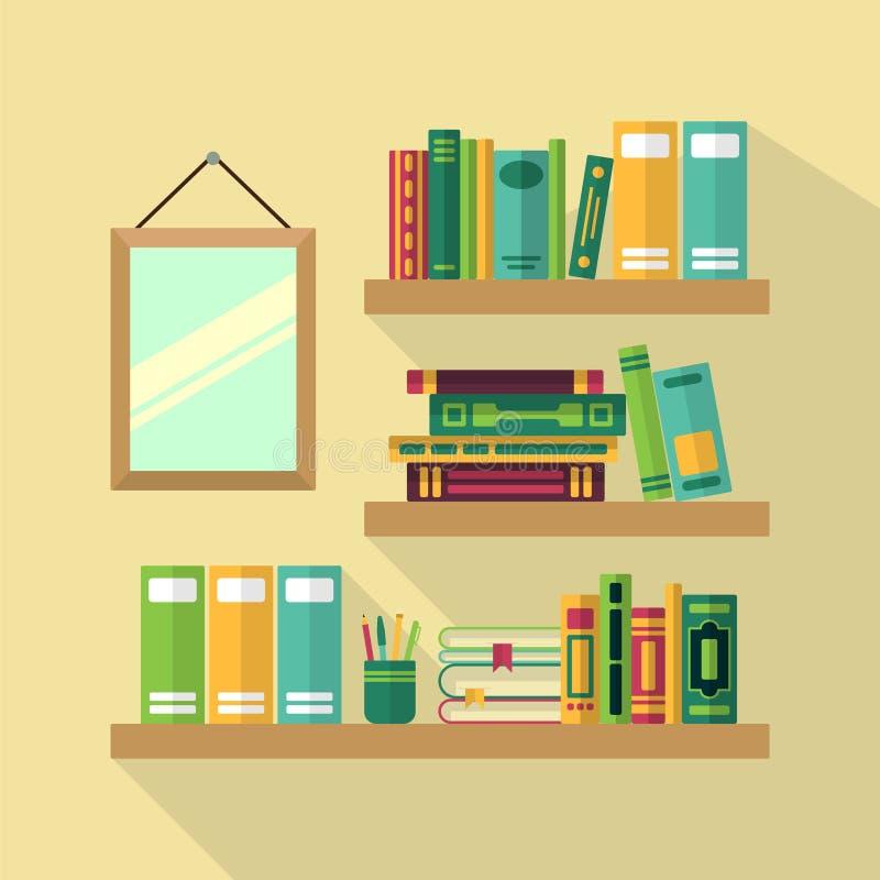 Estante de madeira na biblioteca com livros diferentes Graphhics do vetor ilustração royalty free
