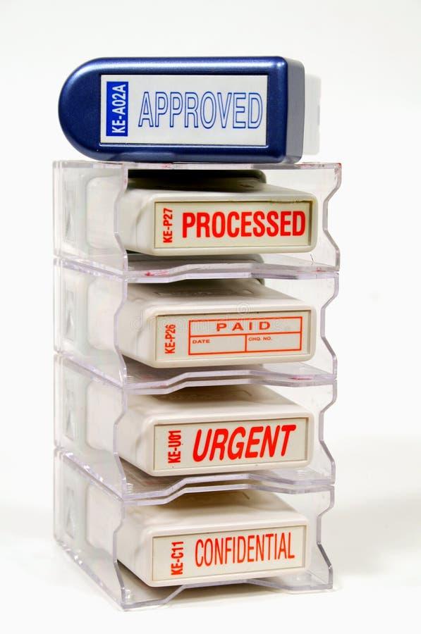 Estante de sellos de goma fotografía de archivo