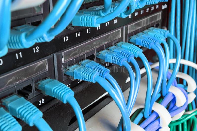 Estante del servidor con los cables verdes imágenes de archivo libres de regalías