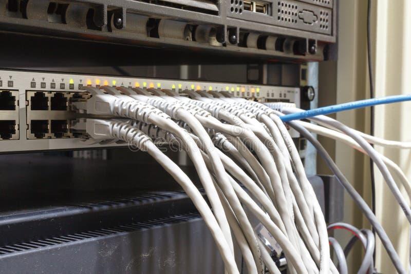 Estante del servidor del panel de remiendo con los cordones grises en el fondo imagen de archivo libre de regalías