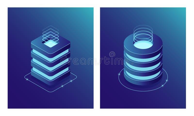 Estante del sitio isométrico de la base de datos y de Data Center, del servidor, computación de la nube y almacenamiento de la nu ilustración del vector
