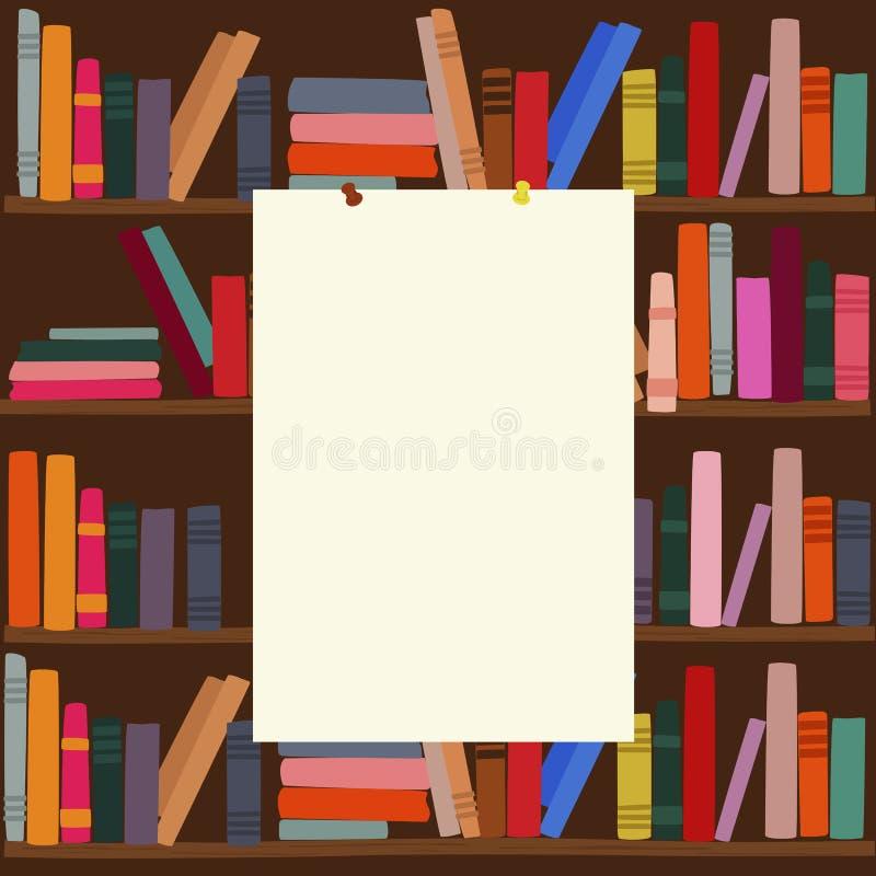 Estante en biblioteca con el tablero en blanco vacío en él libre illustration