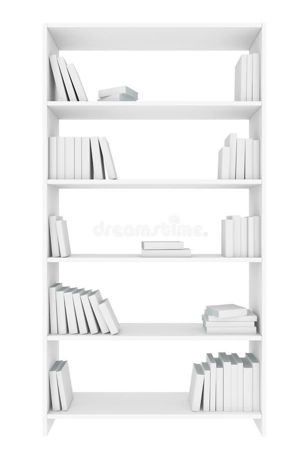 Estante para libros blanco con muchos libros blancos aislados stock de ilustración