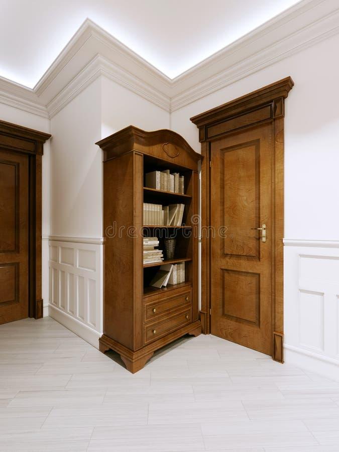 Estante para libros clásico de madera con los libros y una puerta siguiente en el pasillo ilustración del vector