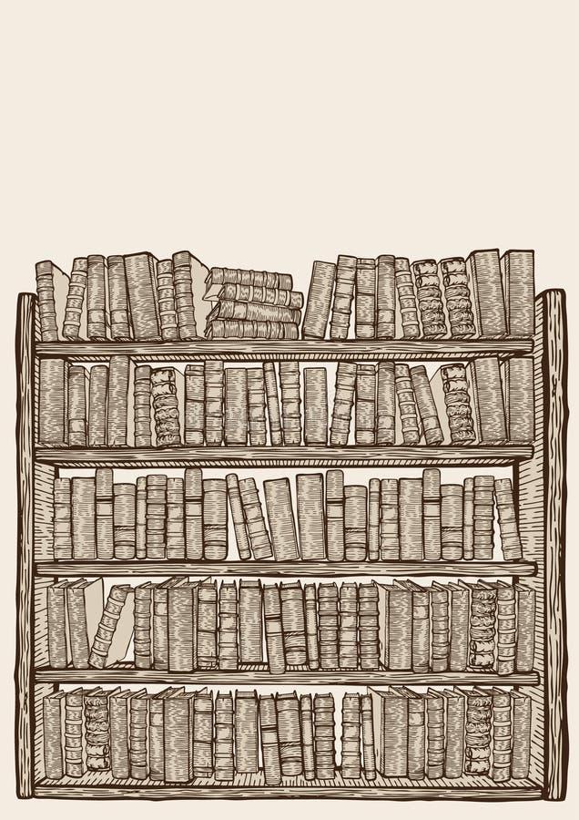 Estante para libros con las porciones de libros ilustración del vector
